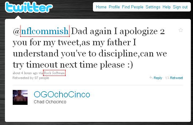 Chad Ochocinco Tweet